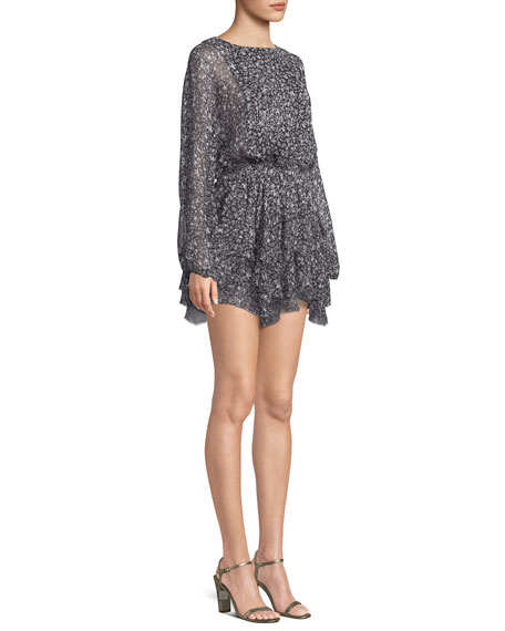 Kaia Star-Print Silk Mini Dress