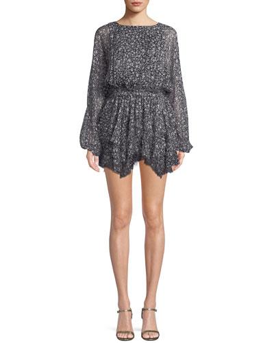 Kaia Star-Print Silk Mini Dress