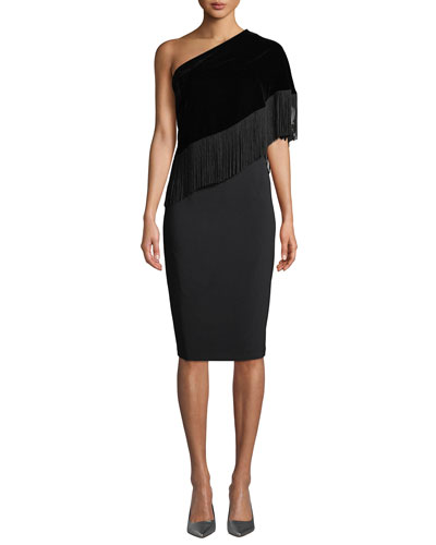 Briar Fringe One-Shoulder Cocktail Dress w/ Velvet Overlay