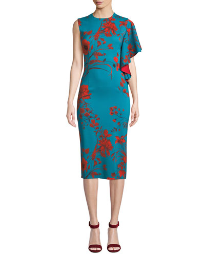 April Floral Dress w/ One Draped Sleeve