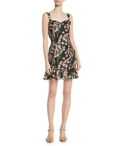 Charleigh Smocked Floral Sleeveless Flounce Dress