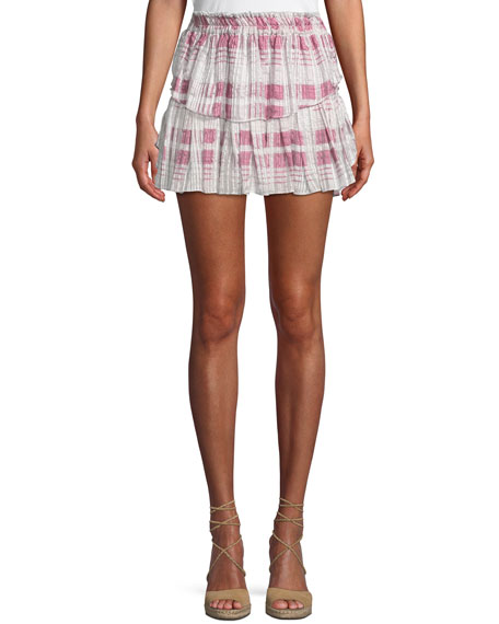 Tiered Ruffle Plaid Silk Mini Skirt