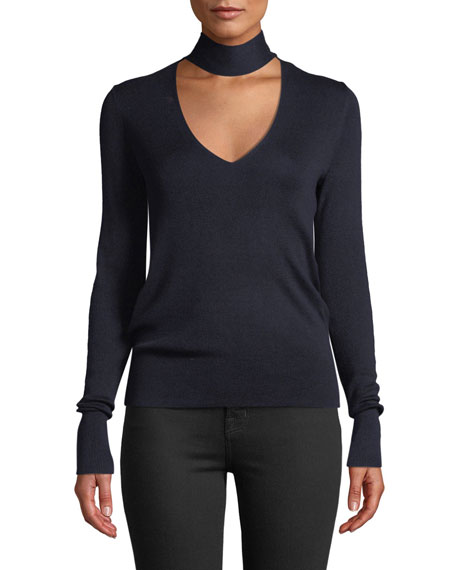 Theory Mock-Neck Long-Sleeve Silk-Blend Sweater