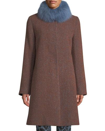 Long Alpaca & Wool-Blend Coat w/ Fur Collar