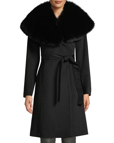 Oversize Fur-Collar Wool Wrap Coat
