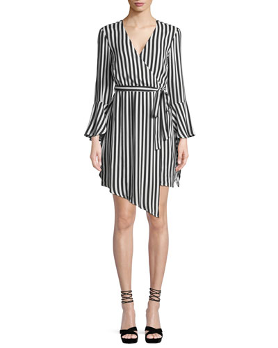 Striped Bell-Sleeve Wrap Dress