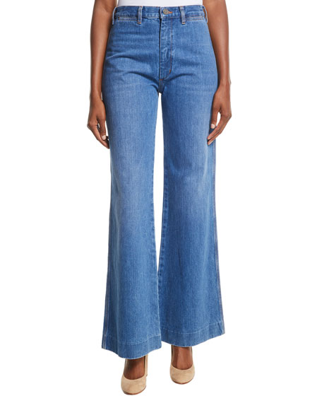 MiH Bay High-Rise Flared Wide-Leg Jeans