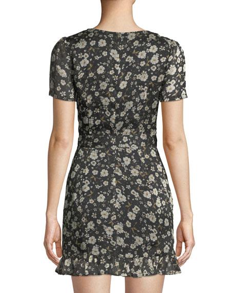 Maya V-Neck Short-Sleeve Fitted Floral-Print Dress