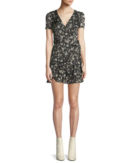 DONNA MIZANI Maya V-Neck Short-Sleeve Fitted Floral-Print Dress in Black