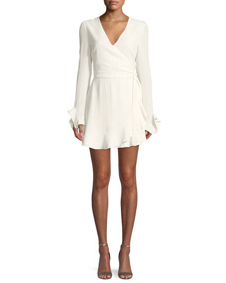 DONNA MIZANI AUDRINA V-NECK WRAP-FRONT LONG-SLEEVE MINI COCKTAIL DRESS