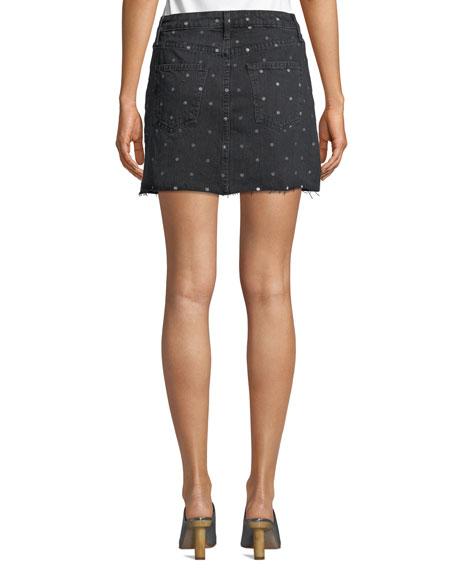 The 5 Pocket Dot-Print Denim Mini Skirt