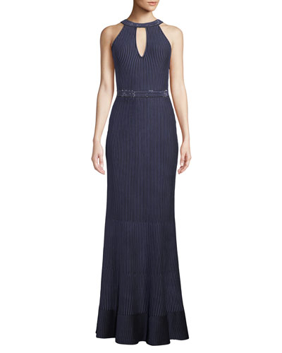 Halter-Neck Sleeveless Luxe Ottoman Knit Evening Gown w/ Sequins