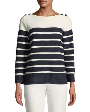 87883307c75b St. John Collection Boat-Neck Birdseye Mesh Knit Colorblock Striped Sweater