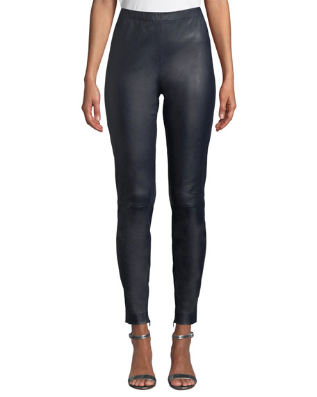 St. John Collection Stretch Napa Leather Cropped Leggings