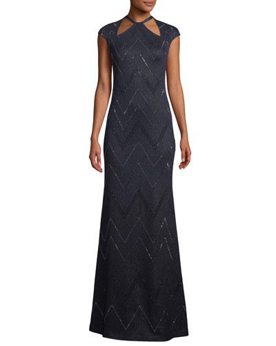 Halter-Neck Cap-Sleeve Mod Zigzag Metallic Knit Evening Gown w/ Sequins