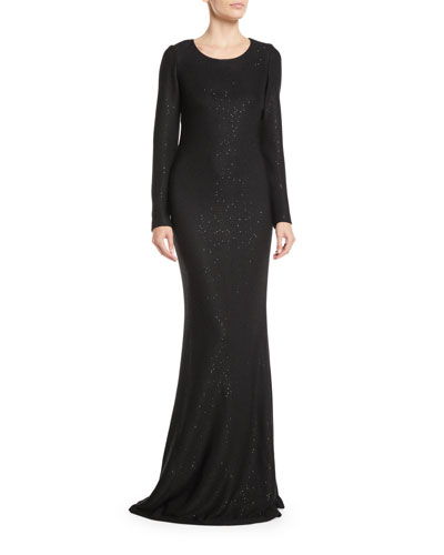 Long-Sleeve Cross-Back Links Sequin Knit Evening Gown