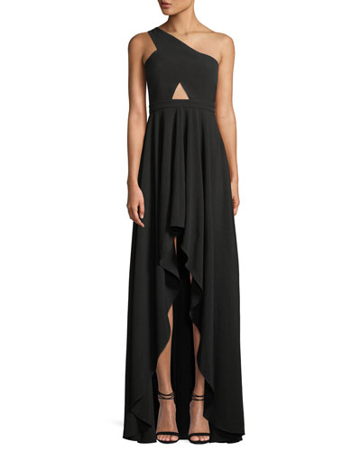 The Zaylee One-Shoulder Cutout-Waist High-Low Formal Gown Dress
