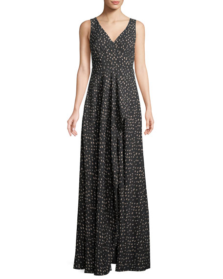 The Reagan Polka-Dot Crepe Long Gown Dress
