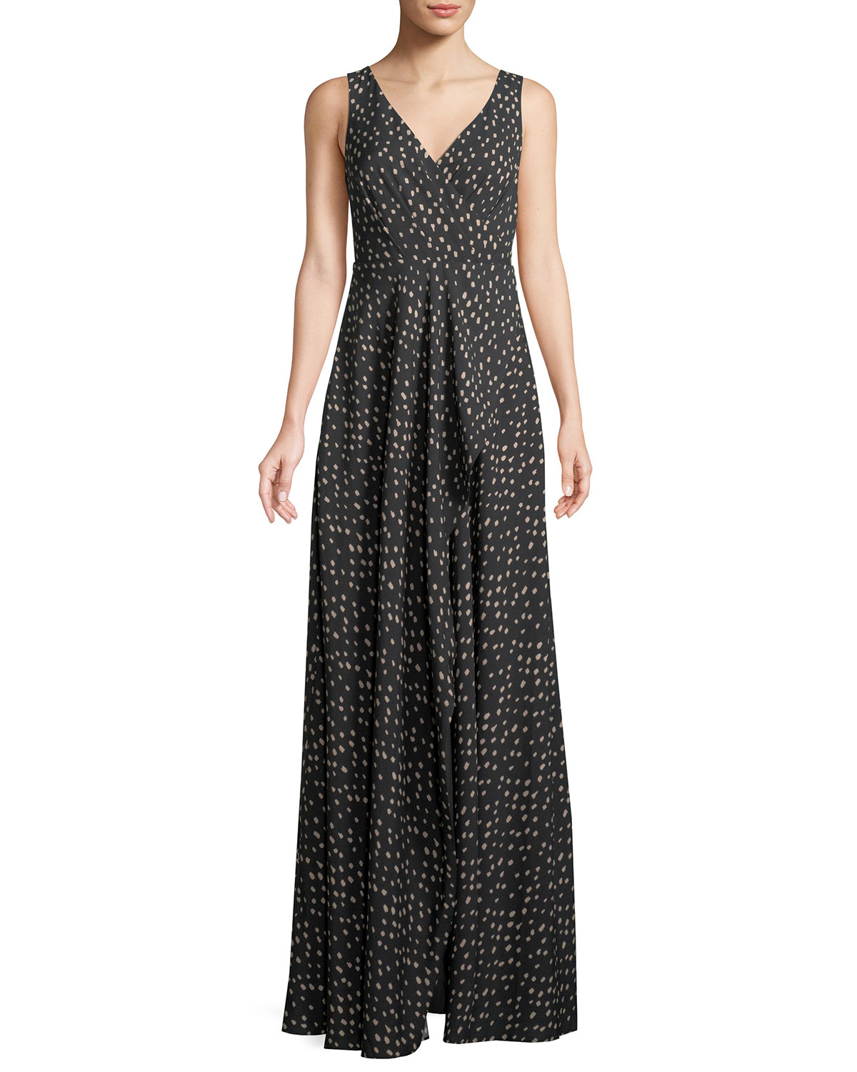 Fame and Partners The Reagan Polka-Dot Crepe Long Gown Dress ...