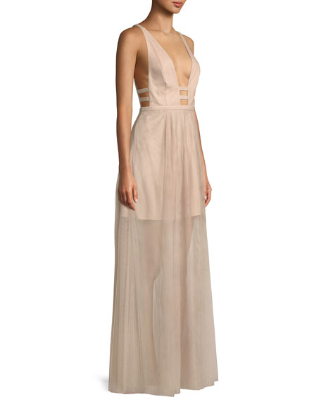 The Duff Long Formal Dress Gown w/ Tulle Skirt & Cutouts