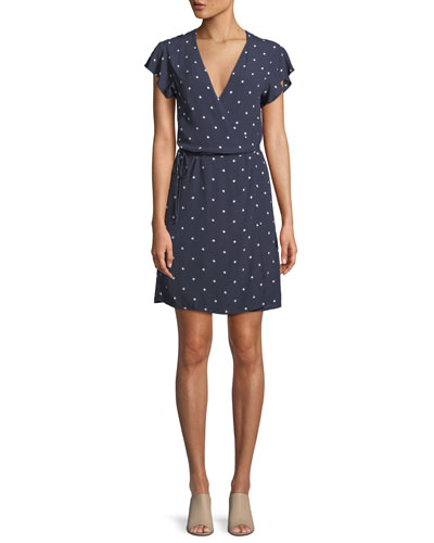 Brenna Polka-Dot Short-Sleeve Wrap Dress