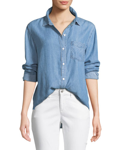 Ingrid Raw-Edge Button-Front Shirt