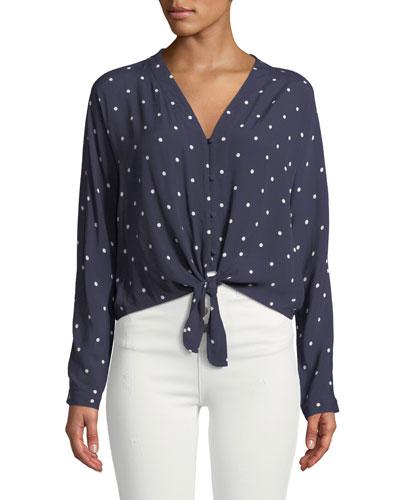 Sloane Dot-Print Tie-Front Blouse
