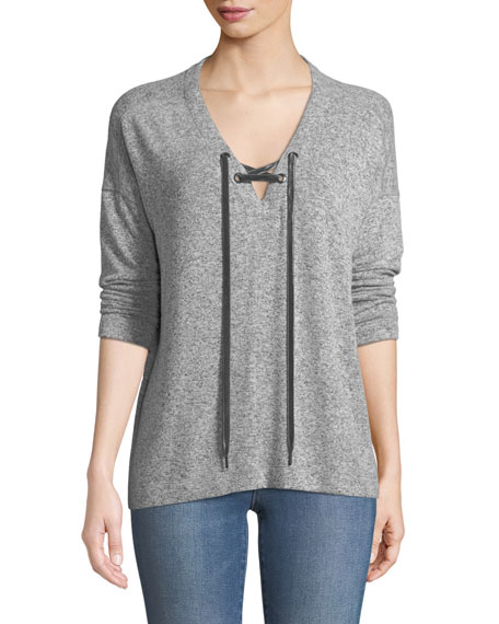 Leigh V-Neck Velvet-Ties Long-Sleeve Heathered Top