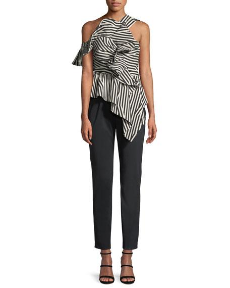 Abstract-Stripe Asymmetric Ruffle Jumpsuit