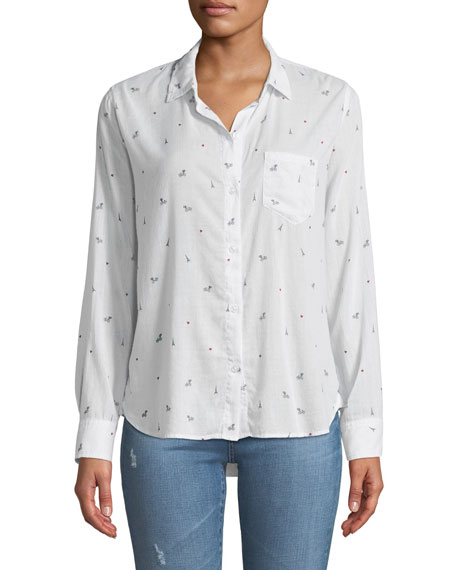Taylor Paris Printed Cotton-Cashmere Long-Sleeve Button-Front Shirt