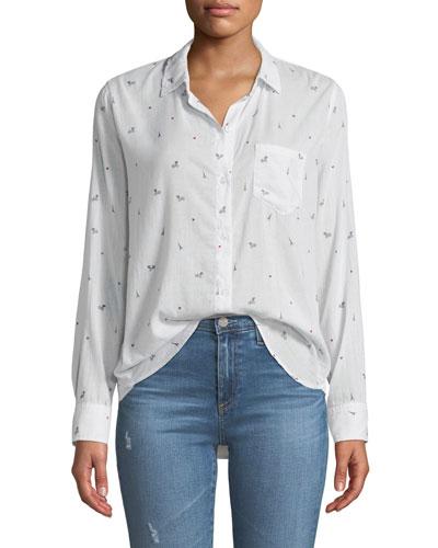 Taylor Paris Printed Cotton-Cashmere Long-Sleeve Button-Front Shirt