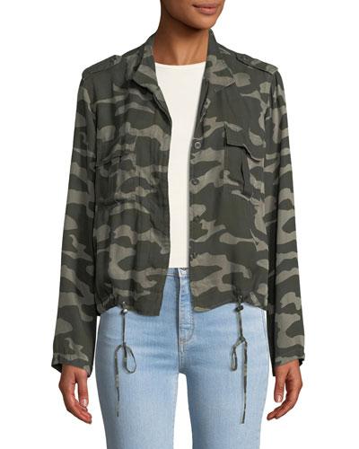 Rowen Button-Front Camo-Print Linen-Blend Jacket