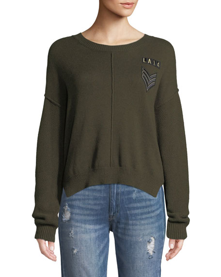 Rails Stafford Crewneck Military-Patch Knit Sweater w/ Seam