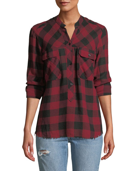 Rails Redding Frayed Plaid Button-Front Shirt