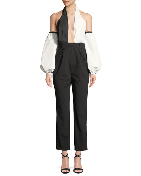 Colorblock Halter Blouson-Sleeve Jumpsuit
