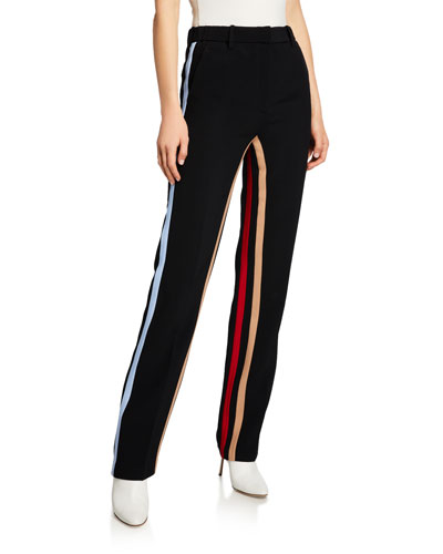 Jogger Trousers Pants w/ Contrast Side Stripes