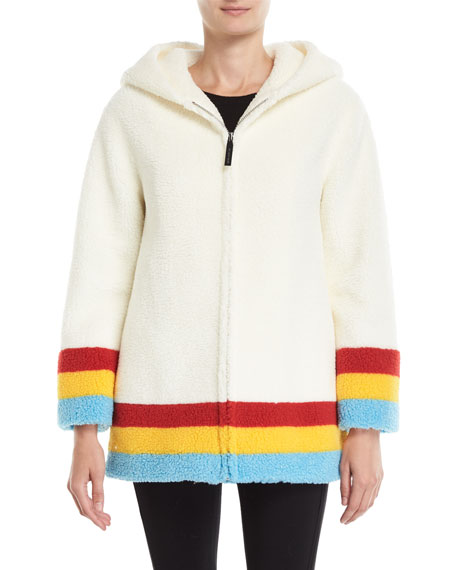 Craven Striped Faux-Shearling Hooded Jacket