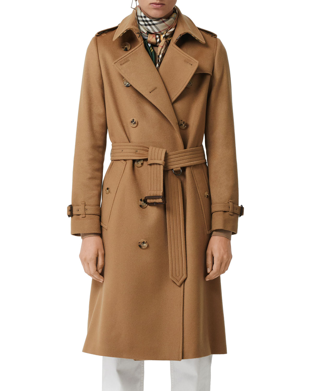 Burberry Kensington Cashmere Trench Coat   Neiman Marcus 890074f693b