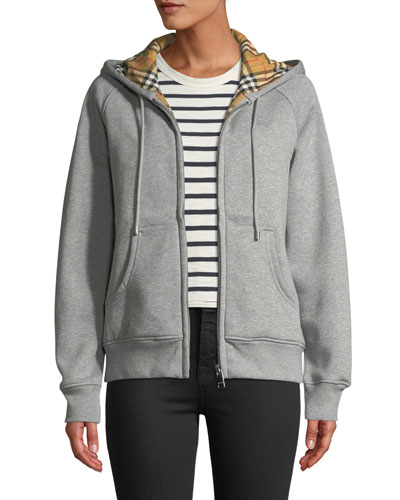Check-Lined Zip-Front Hoodie Jacket
