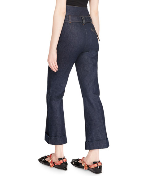 Belted High-Rise Flare-Leg Denim Trousers