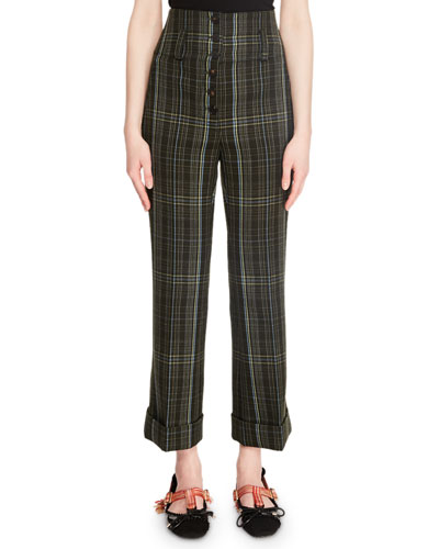 Cropped High-Rise Plaid Wool Pants