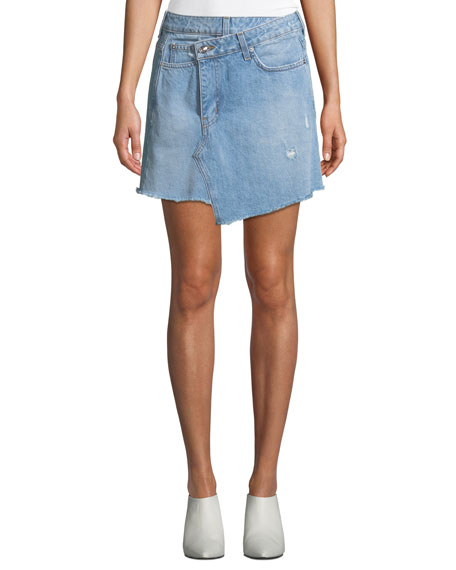 Cleo A-Line Wrap Denim Mini Skirt