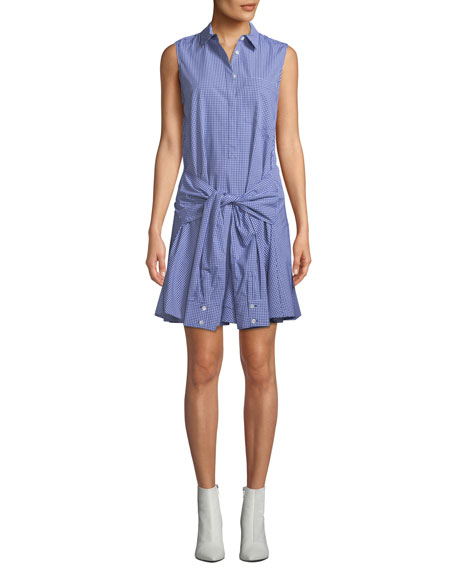 Sleeveless Tie-Waist Check Shirtdress