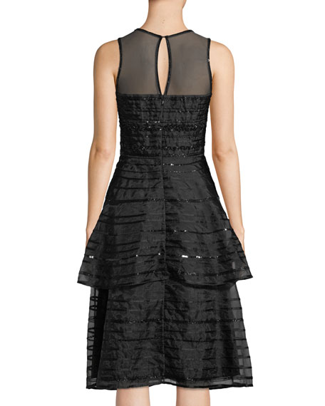 Avril Sleeveless Sequin-Stripe Tiered Midi Cocktail Dress