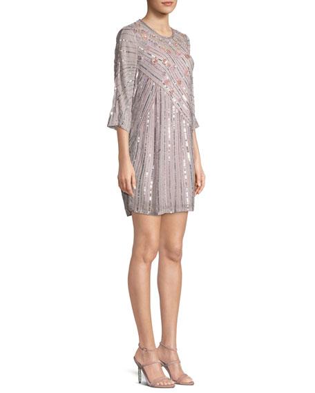 Alejandra Round-Neck 3/4-Sleeve Beaded Shift Cocktail Dress