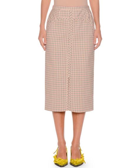 No. 21 A-Line Long Checkered Skirt