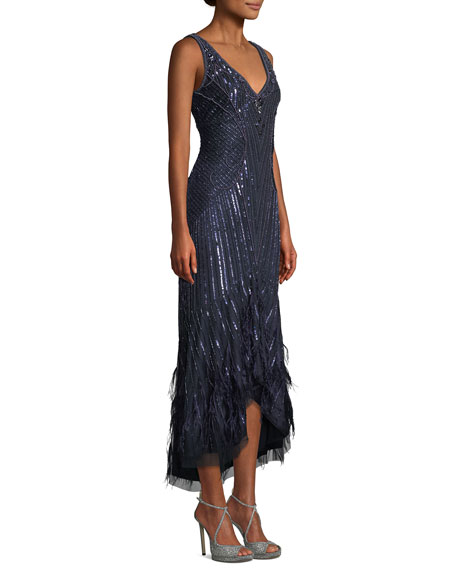 Sydney Beaded High-Low Gown Dress w/ Feather Hem