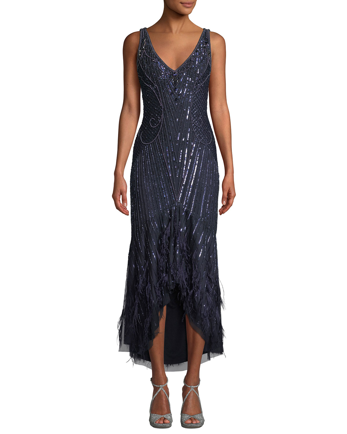 Feather Dressing Gown: Parker Black Sydney Beaded High-Low Gown Dress W/ Feather