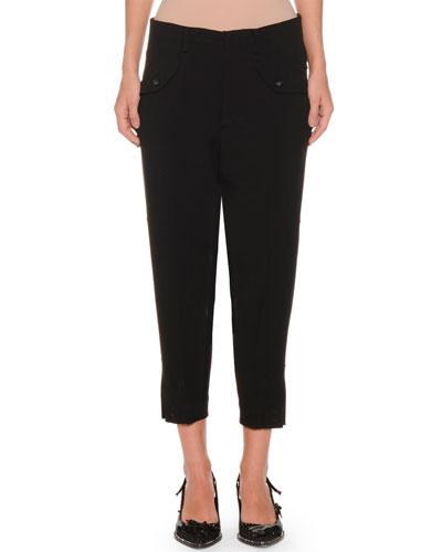 Cropped Skinny-Leg Crepe Trousers
