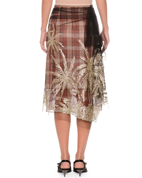Plaid A-Line Embellished Tulle Skirt